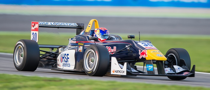 Max Verstappen driving the Dallara F312/17 before stepping straight into Formula 1